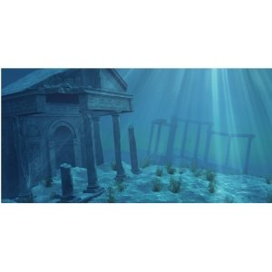 Aquatic Creations Static Cling Aquarium Background, 36 by 18-Inch, Ruins