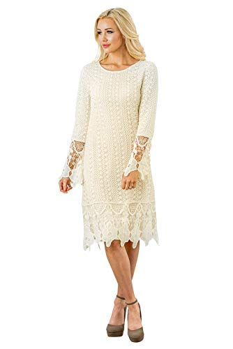 Lydia Modest Boho Dress in Cream w/Lace Overlay - S, Modest Bridesmaid Dress in Ivory or Off-White