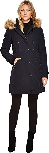 Vince Camuto Womens Faux Fur Hooded Down with Cinch Waist N1721 Navy XL (US 16) One Size