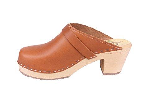 Leather Clogs Swedish Clogs Heel Tan in High xTwqYwvU