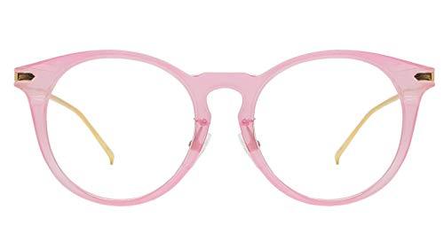 Oversized Big Round Horn Rimmed Eye Glasses Clear Lens Oval Frame Non Prescription (PINK 10122)