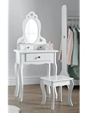 Girls Dressing Table with Stool and Mirror   Small Kids Vanity Table Ideal for Girls 3-7 Years   Childrens White Wooden Makeup Dressing Table with 3 Drawers, Heart Shape Design and Crystal Knobs