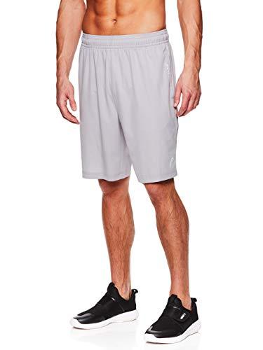 - HEAD Men's Break Point Mesh Insert Workout Gym & Running Shorts w/ Elastic Waistband & Drawstring - Break Cement Grey, Medium