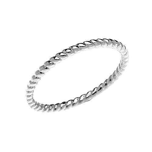 (10k White Gold Dainty Stackable Rope Design Ring (Size 7))