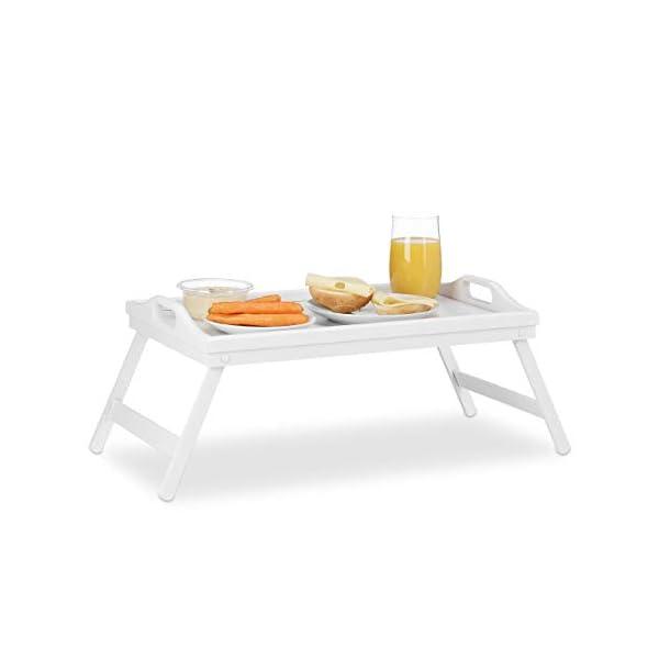 Relaxdays 10023232 Tablette de Lit Bambou Pliant Poignées Rebords Plateau de Service & Petit Déjeuner, 22 x 61,5 x 30 cm, Blanc