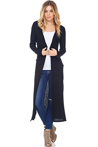 A+D Womens Casual Ribbed Long Duster Cardigan W Slit & Pocket (Black, Medium)