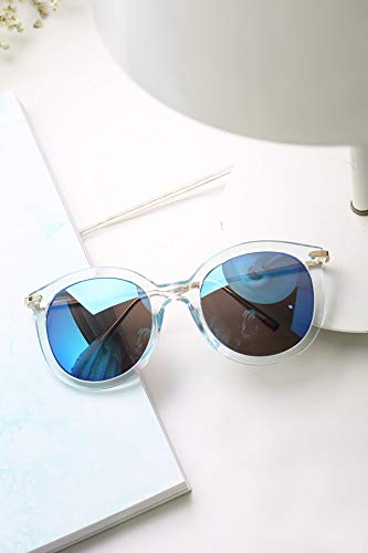 (Great Circle Frame Sunglasses Temples Word Thin Style (a Transparent Blue Film)