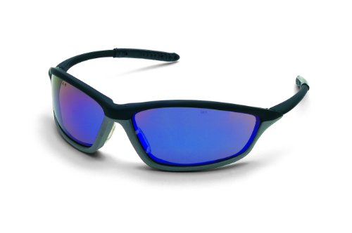 MCR Safety SH118B Shock Safety Glasses with Onyx/Graphite Gray Frame and Blue Diamond Mirror Lens ()