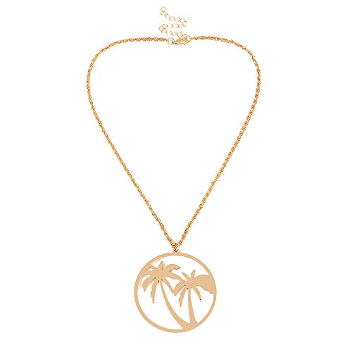 RUIZHEN Gold Plated Palm Tree Coconut Large Circle Tropical Summer Necklace (Gold)