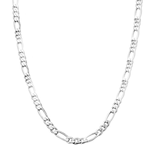 Honolulu Jewelry Company Sterling Silver 4mm - 7.5mm Figaro Link Chain Necklace or Bracelet (4mm - 20 (4mm Silver Figaro Chain)