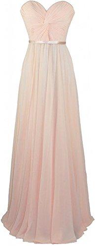 Xqmdress Women's Long Strapless Evening Bridesmaid Dress Gown Light Peach US4 (Cheap 80s Dresses)
