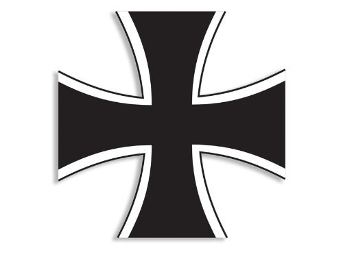 German Iron Cross Shaped Sticker (deutschland germany decal) (Iron Cross Back Bumper compare prices)