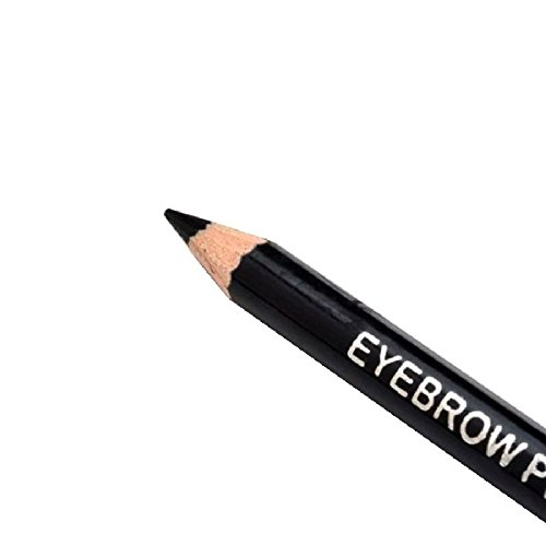 (1Pcs 5 Colors Eyebrow Pencil & Brush Eyebrow Enhancer Long Lasting Makeup Pencil To Eye Two Sides With Brush Design Metal Case Black)