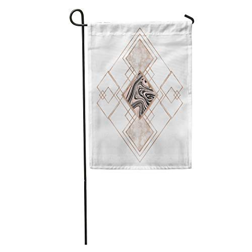 Semtomn Garden Flag Marble and Rose Gold Geometric Abstract Modern Minimal Creative Universal Home Yard Decor Barnner Outdoor Stand 28x40 Inches Flag