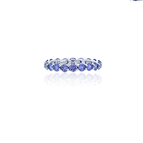 Decadence Sterling Silver 3mm Round Tanzanite CZ Prong Set Eternity Band Ring