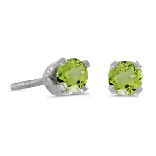 14k Petite White Gold Round Peridot Children s Screw-back Stud Earrings