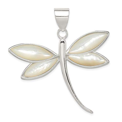 925 Sterling Silver White Shell Dragonfly Pendant Charm Necklace Insect Fine Jewelry For Women Gift Set