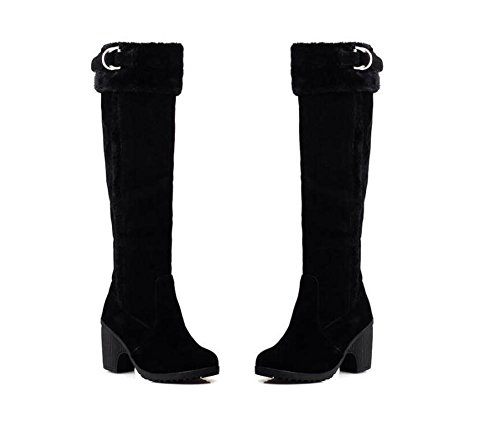 Botas con tacón grueso de la rodilla de la PU de las mujeres de YUEER altas calientes botas antideslizantes black