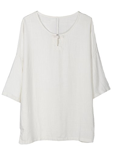 Minibee Women's Elbow Sleeve Linen Tunic Tops Solid Color Retro Blouse White 2XL ()