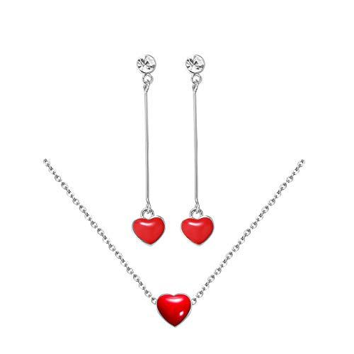 Flowetry Delicate Red Heart Pendant Necklace Heart Dangle Crystal Earrings Love Heart Jewelry Set for Women Girl by Flowetry (Image #3)