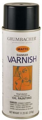 Grumbacher Damar Matte Varnish Spray For Oil Painting, 11.25 oz Can by Grumbacher