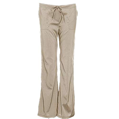 (iYYVV Plus Size Womens Ladies Low Waist Pocket Elastic Trousers Baggy Wide Leg Pants Khaki)