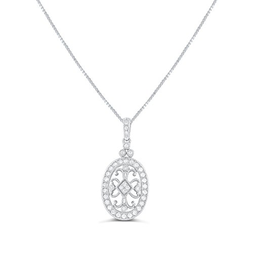 Sterling Silver Cz Filigree Victorian Oval Charm Necklace - Oval Italian Charm Stone