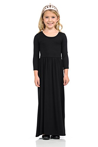 Pastel by Vivienne Honey Vanilla Girls' Fit and Flare Maxi Dress Large 9-10 Years Black]()