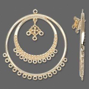 Beadable Silver Gold Hoop Earrings Double Hoops Loops Bead Beading Findings (38mm Gold)