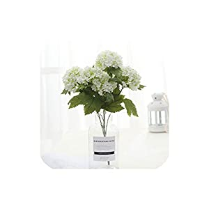 Bling-Bling Case Silk Artificial Flowers 1 Bouquet 7 Head Hydrangea Flower Fake Leaf Home Decoration Wedding Bouquet Plant Potted,White 74