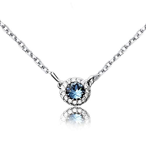 (Sterling Silver Solitaire Choker Necklace, Crystals from Swarovski, Sun Shape Pendant Necklace Jewelry Gift for Women Girls, 18