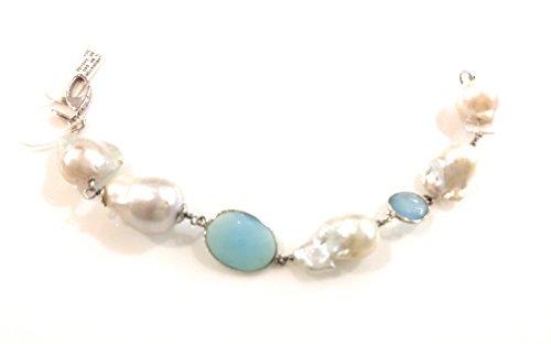 Sphinx Bijoux Bracelet de perles baroques et agate bleue, piqué à main avec fil en argent 925.lungh. CM20