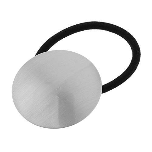 Womens Girls Metal Cuff Wrap Hair Ties Elastic Rope Band Ponytail Holders (Color - Silver)