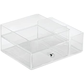 InterDesign Clarity Cosmetic Organizer for Vanity Cabinet to Hold Makeup, Beauty Products - One Drawer with Side Caddy, Clear
