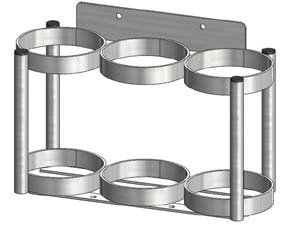 FWF OXYGEN WALL MOUNT RACK HOLDS 3 (D OR E STYLE) CYLINDERS DIAMETER 4.3'' MADE IN USA