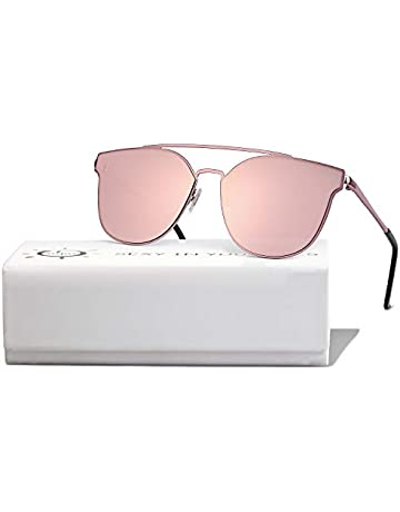 42beb787ab6b SOJOS Fashion Mirrored Double Bridge Sunglasses Flat UV Protection Lens SO  SHINE