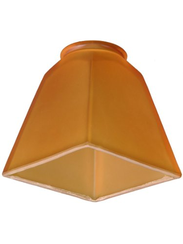 Amber Etch Arts & Crafts Pyramid Shade With 2 1/4 Fitter - Etch Glass Antique