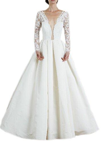 Ikerenwedding mujeres de doble cuello de pico encaje manga larga corte tren para vestidos de novia Marfil