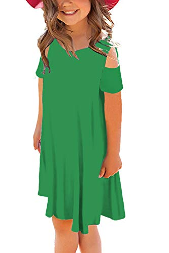 storeofbaby Girls Princess T-Shirt Dress Cute Casual Summer Dresses for Party Pure Green