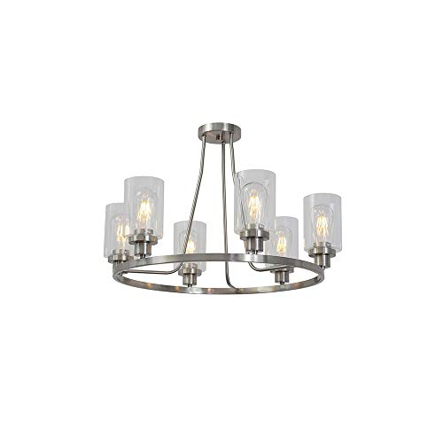 MELUCEE 6-Light Brushed Nickel Round Chandelier with Clear Glass Shade, Semi Flush Mount Ceiling Light Island Lighting for Dining Room Living Room Bedroom UL Listed Brushed Nickel Six Light Chandelier