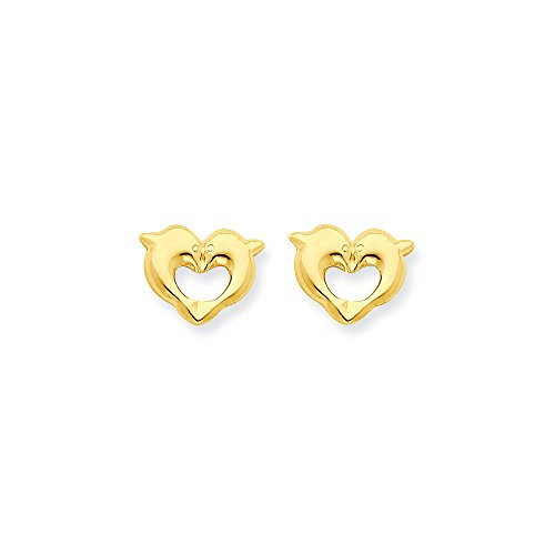 Gold Dolphin Post Earrings - 9