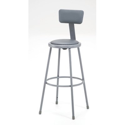 (National Public Seating 6430B Grey Steel Stool with 30