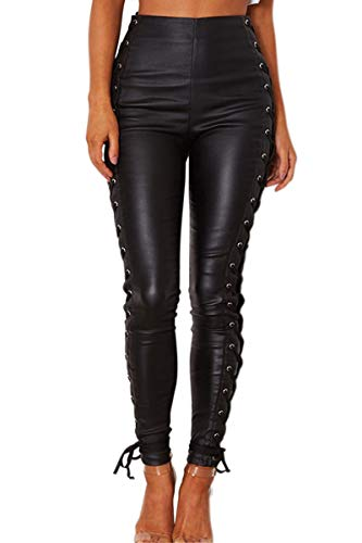 WEEKAN Women's Faux Leather Leggings Pants Strappy Stretchy High Waisted Black Tights (Black-1, US 4)