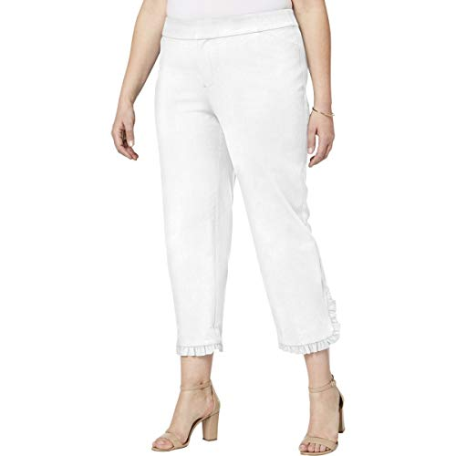 (Charter Club Womens Plus Ruffled Tummy Slimming Cropped Pants White 22W)