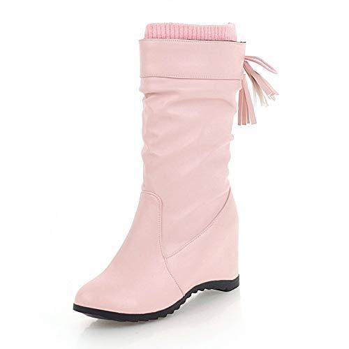 Bottes Mi 43 Talons Hoesczs Slip Taille Femmes De Croissance Femme mollet Chaussures Bowtie Solide 34 On La Pink Doux Plus I7vvq1wxT