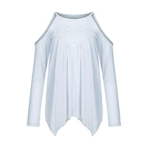 Shirt Shirt Shirt Shirt Maniche Maniche Maniche Spalline T Manica Damark Elegante Pizzo Donna Magliette Solido Camicetta Inverno Corta Pullover Lunga Senza Tunica Donna Lunghe Felpa Top Bianco Sciolto X88xzqaw