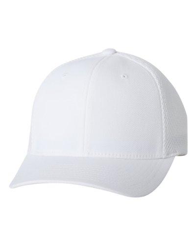 Premium Original Blank Flexfit Ultrafibre Mesh Fitted Hat Cap Flex Fit 6533 Small / Medium - White