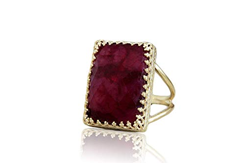 14CT Ruby Ring For Women By Anemone Jewelry - Handcrafted 18Mm/13Mm Rectangular Ruby Gold Statement Ring To Boost Love, Power, Inspiration - Size 3 To 12.5 [Handmade]