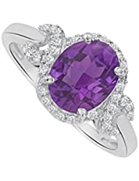 Oval Amethyst and CZ Halo Twist Ring 1.75 CT TGW