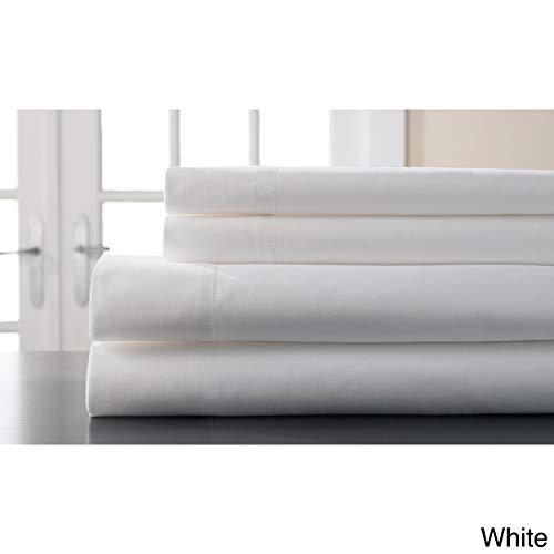 (Elite Home 400-Thread-Count Woven Stripe King Sheet Set with Bonus Pillowcases, White)
